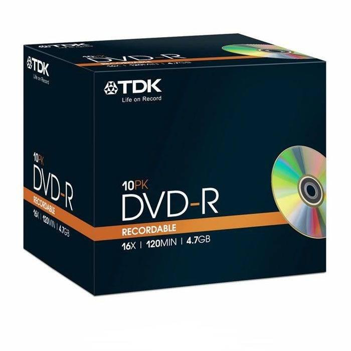 Диск DVD-R TDK 4.7Gb 16x (10шт) (T19408) - фото 1