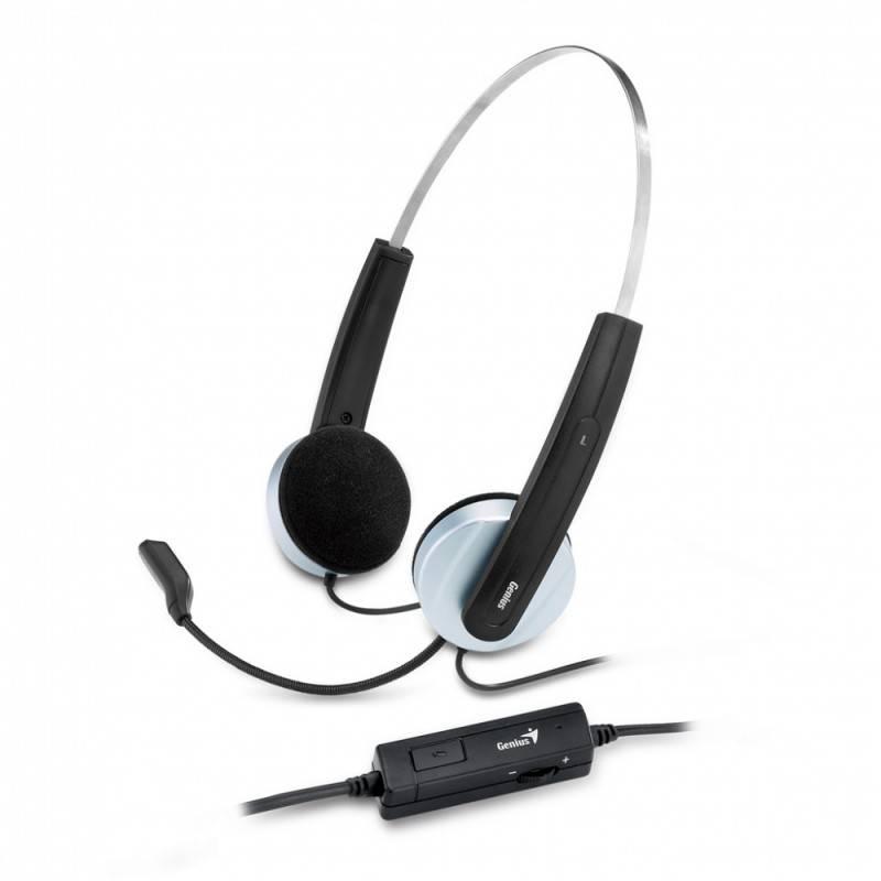 Наушники с микрофоном Genius HS-210U черный/белый (31710049101) - фото 1