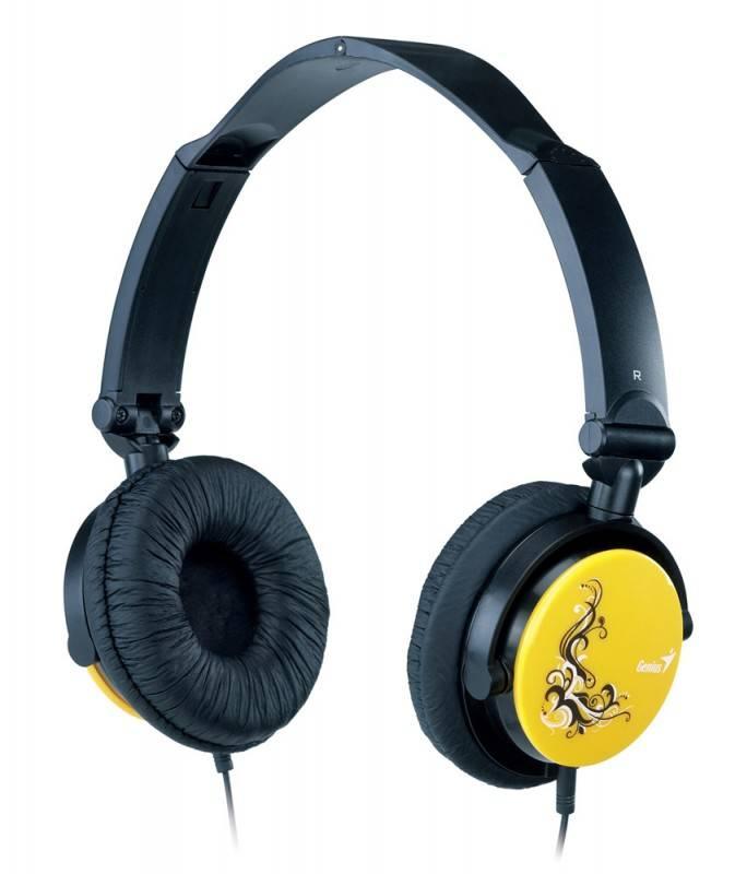 Наушники с микрофоном Genius HS-410F черный/желтый (31710050102) - фото 1
