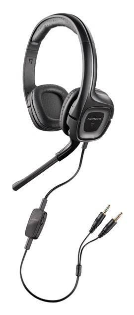 Наушники с микрофоном Plantronics A355 черный/серый - фото 1