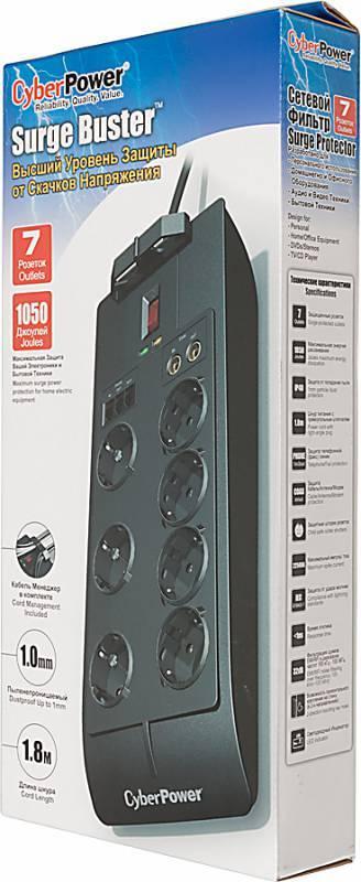 Сетевой фильтр Cyberpower SB0701AD 1.8м черный - фото 3