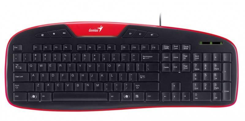 Клавиатура Genius KB-M205 PS/2 R черный/красный - фото 1