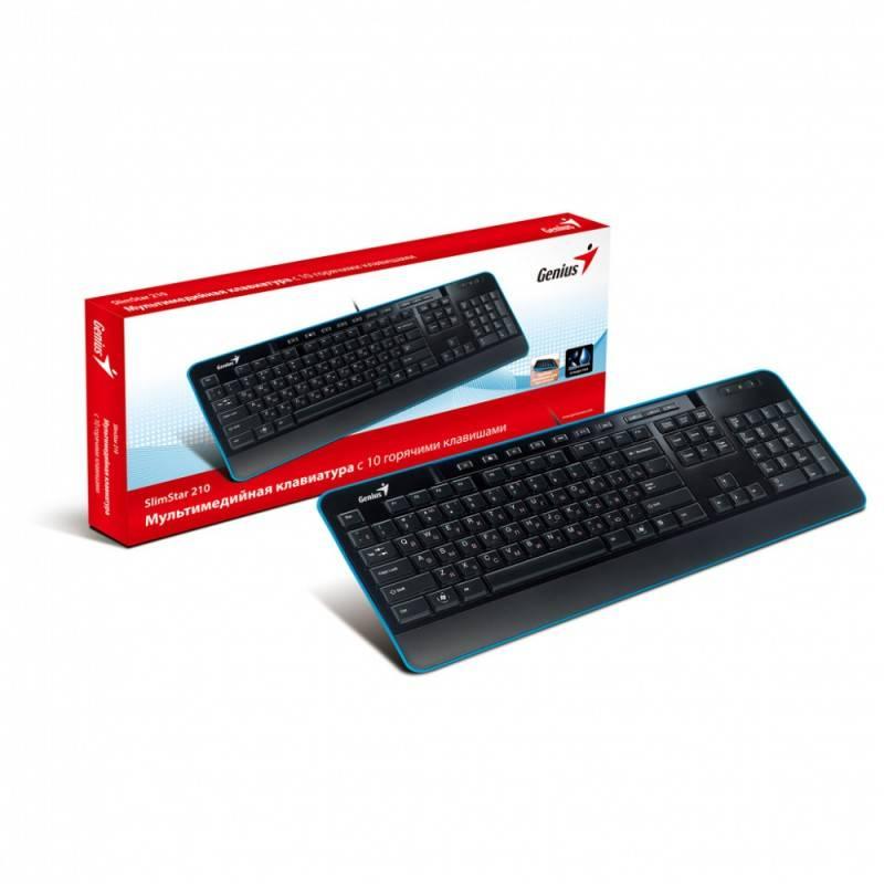 Клавиатура Genius SlimStar 210 черный/синий - фото 3