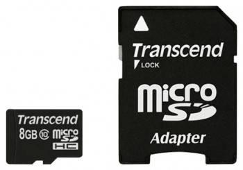 Карта памяти microSDHC 8Gb Class10 Transcend Premium (TS8GUSDCU1)