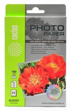 Фотобумага Cactus (CS-GA618025) 10x15 / 180г / м2 / 25л. белый