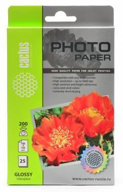 Фотобумага Cactus (CS-GA620025) 10x15 / 200г / м2 / 25л. белый