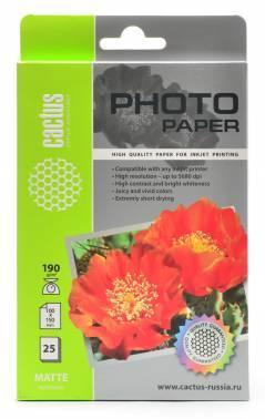 Фотобумага Cactus (CS-MA619025) 10x15 / 190г / м2 / 25л. белый