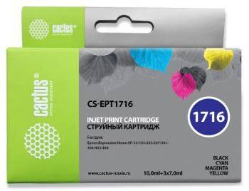 Картридж струйный Cactus CS-EPT1716 черный / желтый / голубой / пурпурный