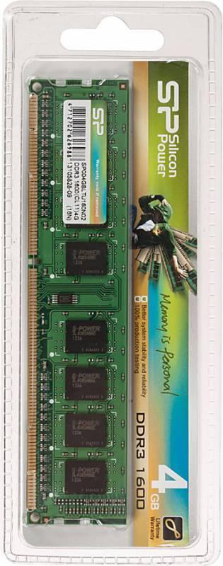 Модуль памяти DIMM DDR3 4Gb Silicon Power SP004GBLTU160N02 - фото 1
