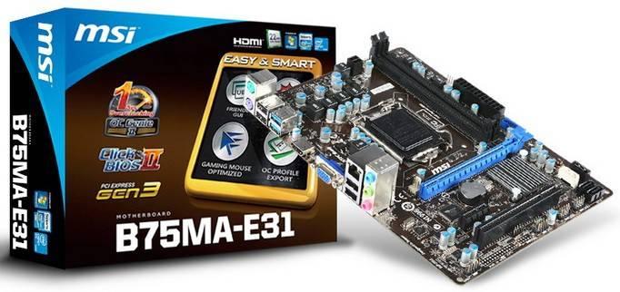 Материнская плата Soc-1155 MSI B75MA-E31 mATX - фото 1