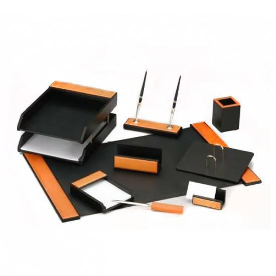 Настольный набор Good Sunrise H8G-1A/C черный/оранжевый 9 предметов - фото 1