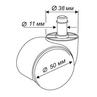 Набор колес Бюрократ CastorSet3850/PU черный - фото 3