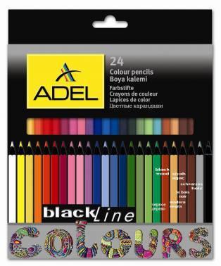 Карандаши цветные Adel BlacklinePB цветной корпус 24цв. (211-2362-000)