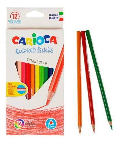 Набор цветных трехгранных карандашей Universal CARIOCA, точилка, картон, 12 штук - фото 1