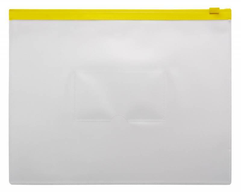 Папка на молнии ZIP Бюрократ BPM5Ayel А5 карман под визитку ПП пластик 0.15мм желтая молния - фото 1