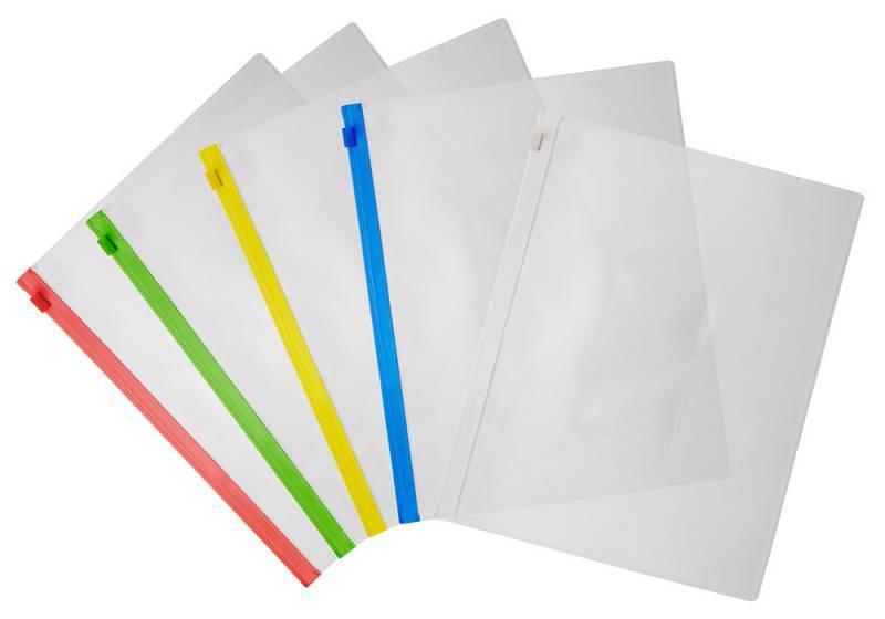 Папка на молнии ZIP Бюрократ BPM5Ayel А5 карман под визитку ПП пластик 0.15мм желтая молния - фото 3