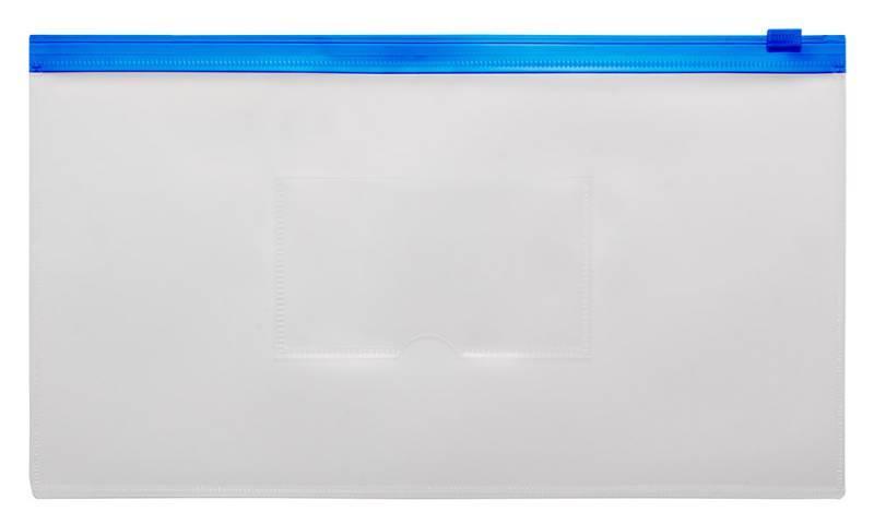 Папка на молнии ZIP Бюрократ BPM6Ablue А6 карман под визитку ПП пластик 0.15мм синяя молния - фото 1