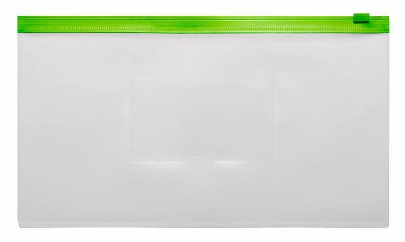 Папка на молнии ZIP Бюрократ BPM6Agrn А6 карман под визитку ПП пластик 0.15мм зеленая молния - фото 1
