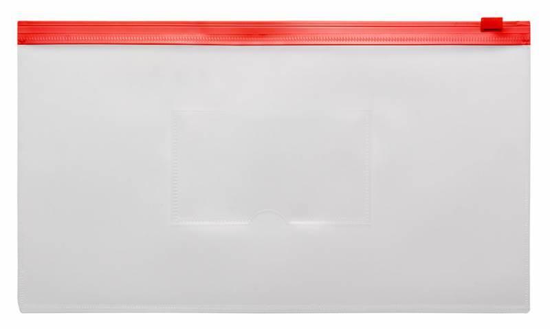Папка на молнии ZIP Бюрократ BPM6Ared А6 карман под визитку ПП пластик 0.15мм красная молния - фото 1