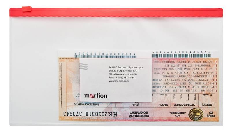 Папка на молнии ZIP Бюрократ BPM6Ared А6 карман под визитку ПП пластик 0.15мм красная молния - фото 2