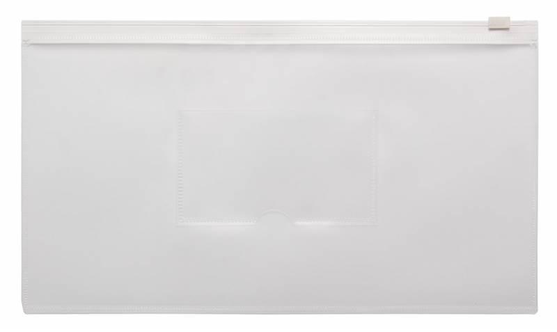 Папка на молнии ZIP Бюрократ BPM6Awt А6 карман под визитку ПП пластик 0.15мм белая молния - фото 1