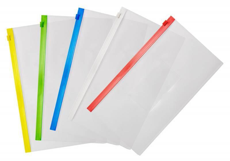 Папка на молнии ZIP Бюрократ BPM6Awt А6 карман под визитку ПП пластик 0.15мм белая молния - фото 3