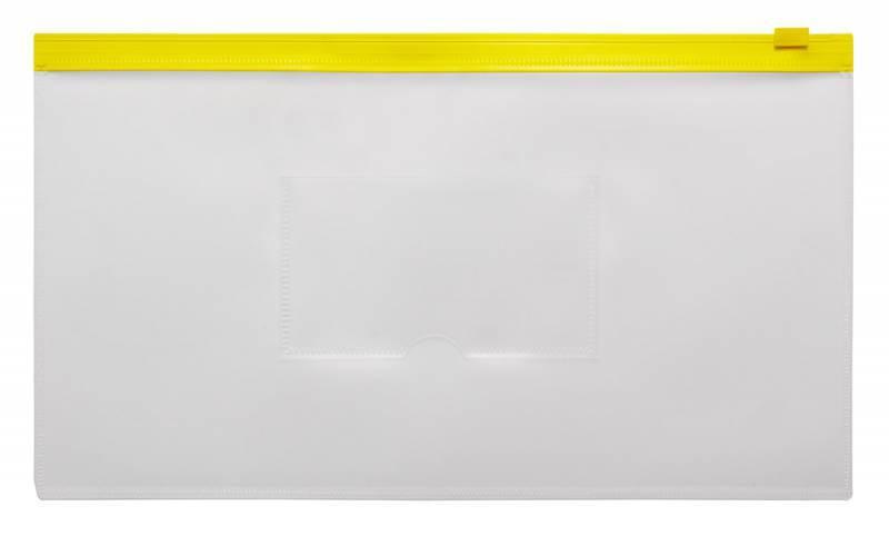 Папка на молнии ZIP Бюрократ BPM6Ayel А6 карман под визитку ПП пластик 0.15мм желтая молния - фото 1