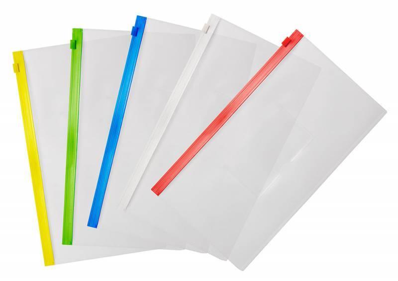 Папка на молнии ZIP Бюрократ BPM6Ayel А6 карман под визитку ПП пластик 0.15мм желтая молния - фото 3