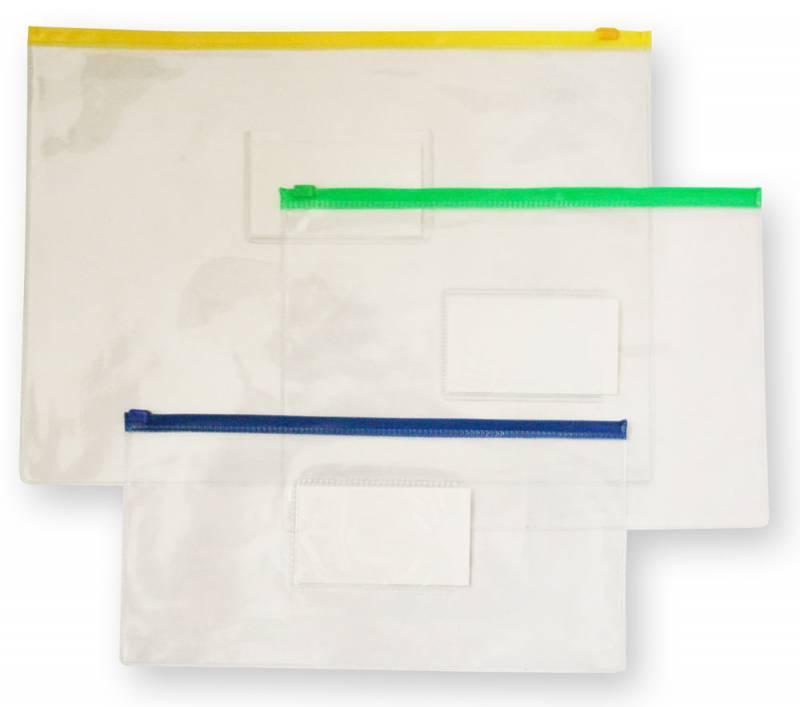 Папка на молнии ZIP Бюрократ PM4A А4 карман под визитку ПВХ пластик 0.18мм ассорти - фото 1
