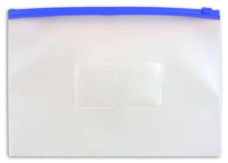 Папка на молнии ZIP Бюрократ PM4Ablue А4 карман под визитку ПВХ пластик 0.18мм синяя молния - фото 1