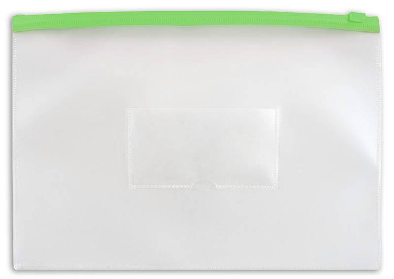 Папка на молнии ZIP Бюрократ PM4Agrn А4 карман под визитку ПВХ пластик 0.18мм зеленая молния - фото 1