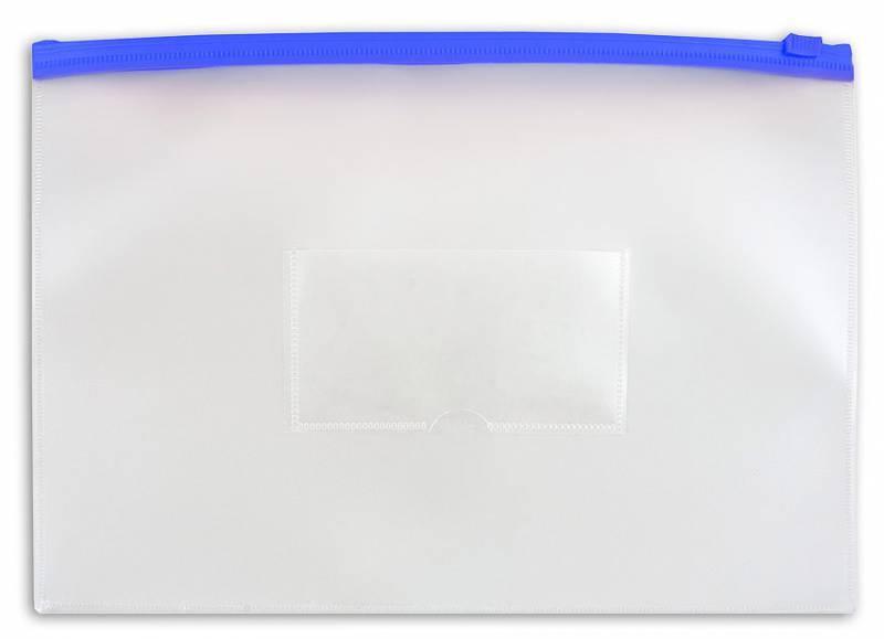 Папка на молнии ZIP Бюрократ PM5Ablue А5 карман под визитку ПВХ пластик 0.18мм синяя молния - фото 1