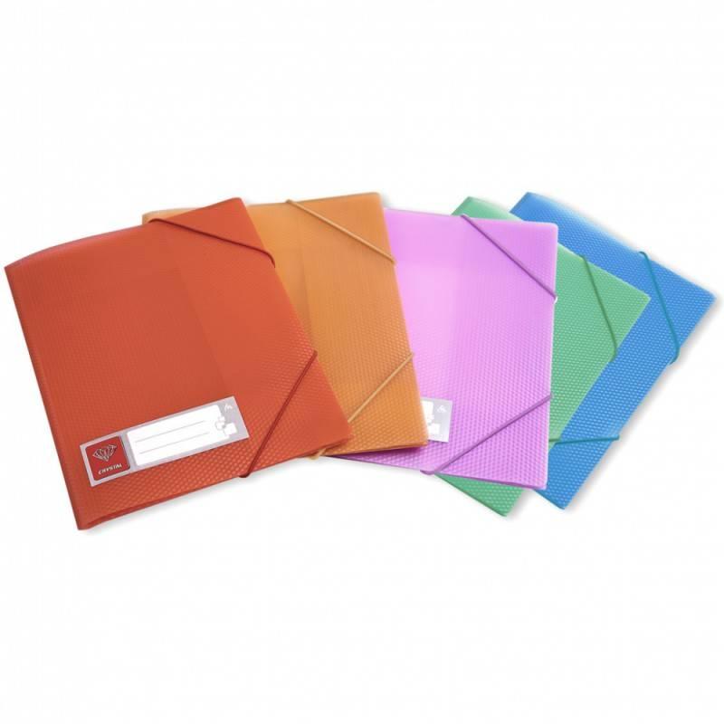 Папка на резинке Бюрократ CRYSTAL CR510 А4 пластик 0.5мм корешок 30мм ассорти - фото 1