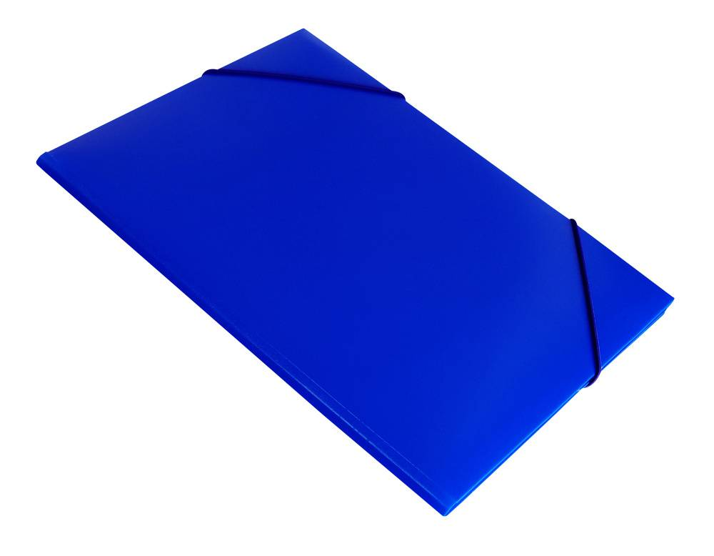 Папка на резинке Бюрократ PR04blu А4 пластик 0.4мм корешок 15мм синий - фото 1