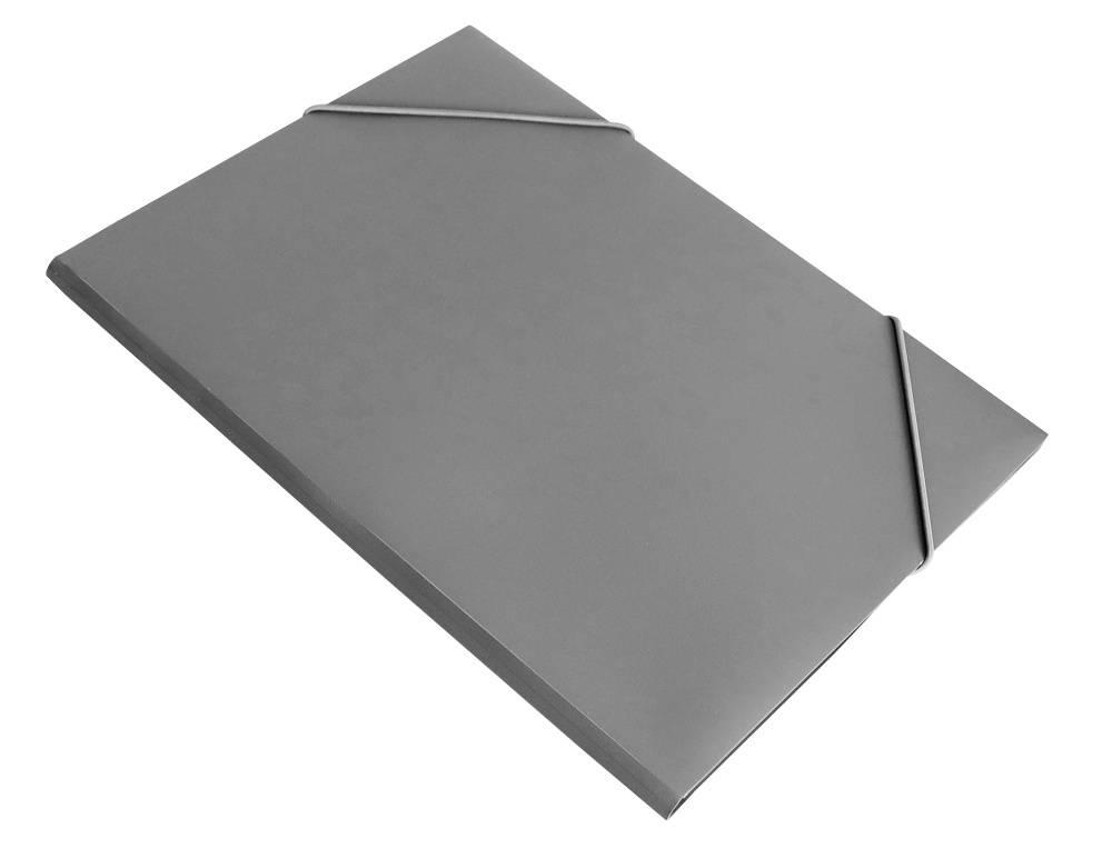 Папка на резинке Бюрократ PR04grey А4 пластик 0.4мм корешок 15мм серый - фото 1