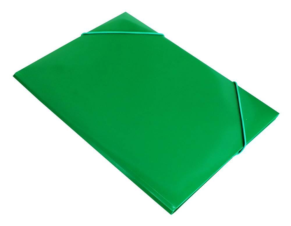 Папка    на    резинке    Бюрократ    PR04grn    А4    пластик    0.4мм    корешок    15мм    зеленый - фото 1