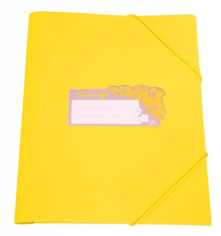 Папка на резинке Бюрократ TROPIC TR510yel А4 пластик 0.5мм корешок 30мм желтый - фото 1