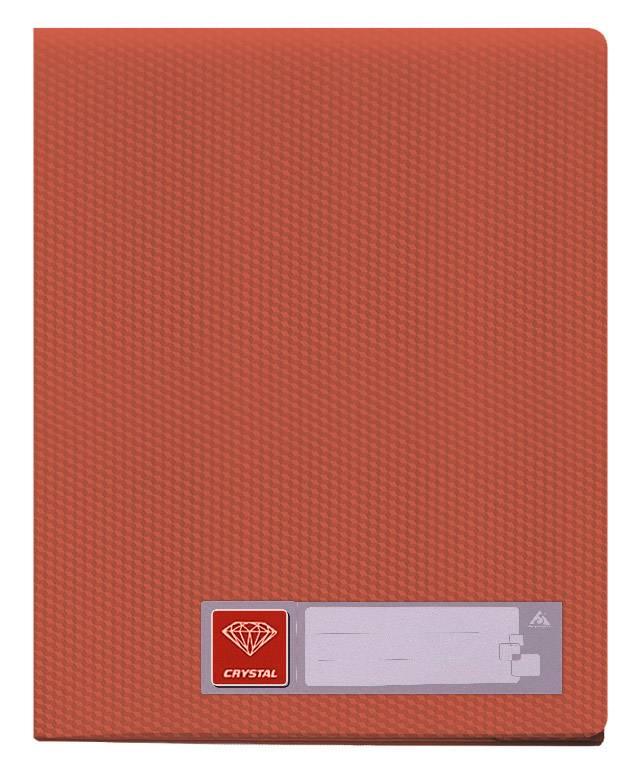 Папка с 100 прозрач. вкладышами Бюрократ CRYSTAL CR100red А4 пластик 0.7мм красный - фото 1