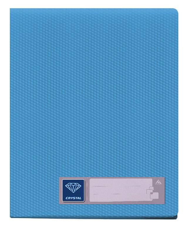 Папка с 20 прозрач. вкладышами Бюрократ CRYSTAL CR20blue А4 пластик 0.5мм голубой - фото 1