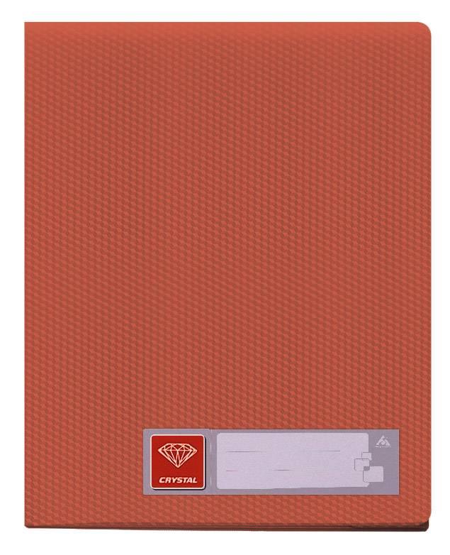 Папка с 20 прозрач. вкладышами Бюрократ CRYSTAL CR20red А4 пластик 0.5мм красный - фото 1