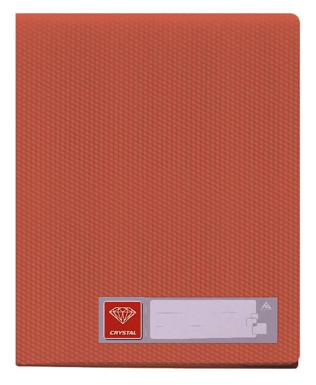 Папка с 30 прозрач. вкладышами Бюрократ CRYSTAL CR30red А4 пластик 0.5мм красный - фото 1