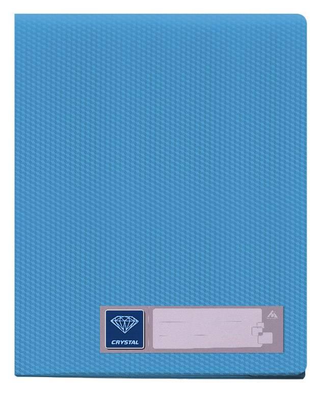 Папка с 40 прозрач. вкладышами Бюрократ CRYSTAL CR40blue А4 пластик 0.5мм голубой - фото 1