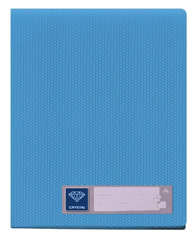 Папка с 60 прозрач. вкладышами Бюрократ CRYSTAL CR60blue А4 пластик 0.7мм голубой - фото 1