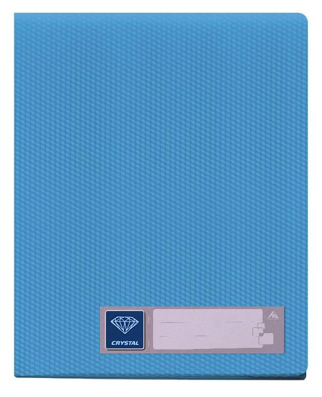 Папка с 80 прозрач. вкладышами Бюрократ CRYSTAL CR80blue А4 пластик 0.7мм голубой - фото 1