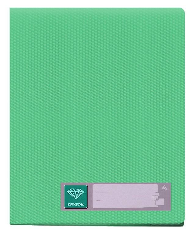 Папка с 80 прозрач. вкладышами Бюрократ CRYSTAL CR80grn А4 пластик 0.7мм зеленый - фото 1