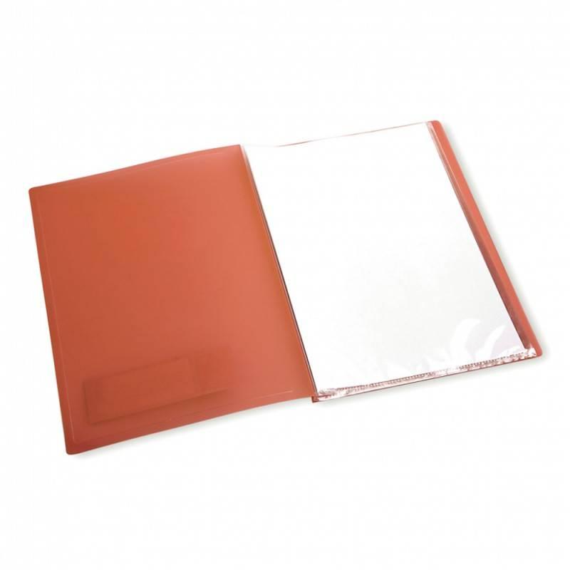Папка с 80 прозрач. вкладышами Бюрократ CRYSTAL CR80or А4 пластик 0.7мм оранжевый - фото 3