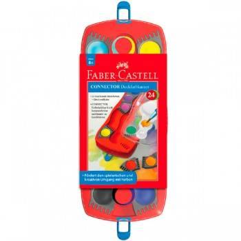 Краски акварельные Faber-Castell Connector 125029 125029 24цв. в компл.:кисточка пласт.поддон