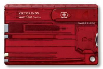 Швейцарская карта Victorinox SwissCard Quattro (0.7200.T) красный полупрозначный