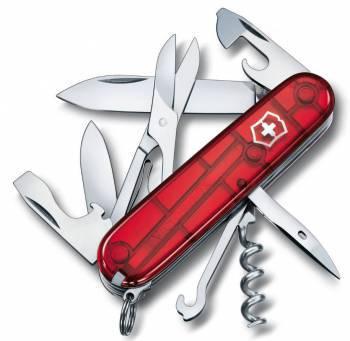 Нож со складным лезвием Victorinox Climber красный полупрозрачный (1.3703.T)