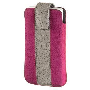 Чехол Hama H-109344 Chic Case для моб.тел. 1.3х11.5х6.3см  застежка замша/кожа розовый/серый  - фото 1